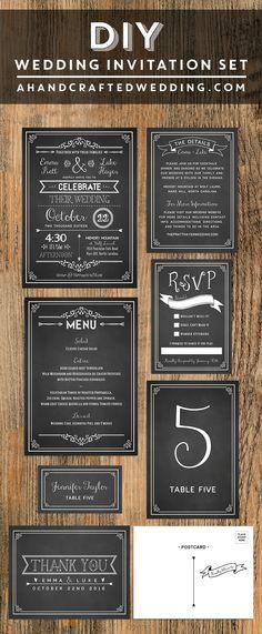 Chalkboard DIY Wedding Invitation Set | ahandcraftedwedding.com #printable #invitations