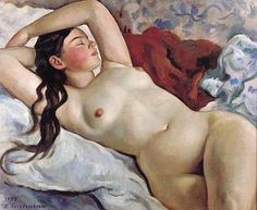 Zinaida Serebriakova (1884-1967), Reclining Nude (1935), oil. Via WikiArt.