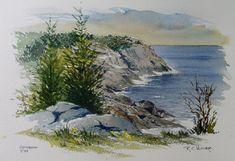 Island Watercolor Paintings   Watercolor Painting of Monhegan Island by Richard Moore