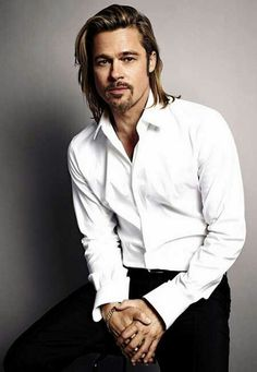 Brad Pitt in his white custom dress shirt