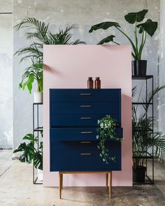 Unbelievable Pink wall with dark blue dresser. Home Decor Inspiration home decor, home inspiration, furniture, lounges, decor, bedroom, decoration ideas, home furnishing, inspiring homes, decor inspiration. Modern design. Minimalist decor. White walls. Marble countertops, marbl ..