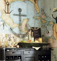 Map wall decal. Easier to install and remove than wallpaper, this wall decal lifts off without leaving a mark.