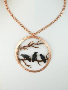Handcrafted black patina Goth copper crow pendant by Kent Olinger-waaaaaaanttt .it.