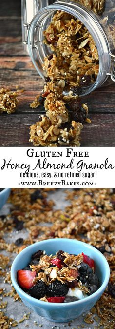ThisGluten Free Honey Almond Granola won't last long. You'll want to eat spoonful after spoonful of this clustery, crunchy, sweet and healthy granola. There's no refined sugar which makes it an even better snack!