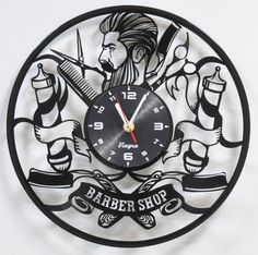 BARBER SHOP CLOCK Vinyl Record Clock Barber Shop Wall Decor
