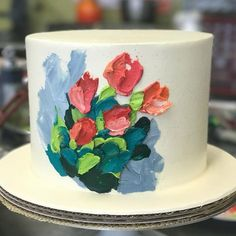 Buttercream painting for the win! 🌷🍰🎨💕 I posted process photos in our story. 😘 I can see a lot of painted buttercream wedding cakes in our… Cake Decorating Designs, Cake Decorating Techniques, Decorating Ideas, Buttercream Wedding Cake, Buttercream Flowers, Buttercream Cake Designs, Buttercream Decorating, Buttercream Icing, Pretty Cakes
