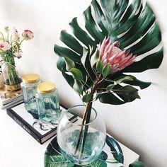 Clima tropical - inspire-se nesse estilo de decoração Estilo Tropical, Hm Home, Tropical Christmas, Christmas 2016, Eclectic Decor, Go Green, Best Interior, Home Kitchens, Glass Vase