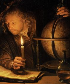 """detailsdetales: """" Astronomer by Candlelight (c. 1650) Gerrit Dou (Note: Dou, Dutch, 1613-1675, Astronomer by Candlelight is an oil on panel with elegant use of detail and chiaroscuro. It is in The Getty Center, Los Angeles, Calif. The single candle..."""