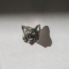 Edward Sexton - Oxidised silver fox head lapel pin