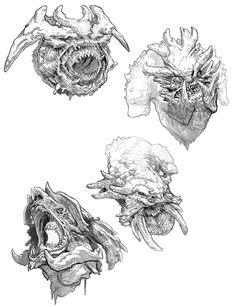 Hraezlyr Faces Concept Art - Galeri Seni God of War Alien Creatures, Magical Creatures, Fantasy Creatures, Monster Sketch, Monster Art, Creature Concept Art, Creature Design, Fantasy Dragon, Dragon Art