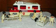 1977 Geobra Playmobile Ambulance, Wheelchair, Gurney, Hospital Bed, and 7 People ~ Vintage Toy Set Collectible