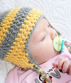 Crochet Baby Hat Yellow and Gray Hat Infant Ear by TEHChildren, $20.00 #EtsyAAA #Etsy