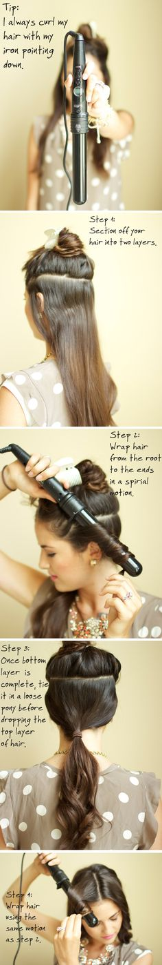 Tutorial: Get curls with a wand. Shelli I hope you see this! I pinned it for you ♥