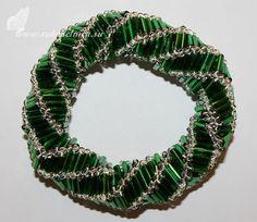 Объёмный браслет из бисера и стекляруса | Рукоделие | Бисероплетение