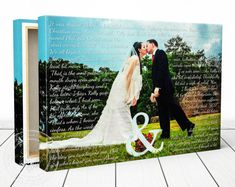 Custom Print Wedding Photo With Lyrics Vows Poem Cotton Canvas Gift Anniversary Portrait Wall Decor Pinterest