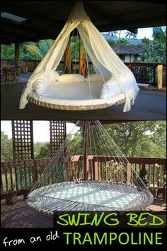 Got a trampoline is wrecked beyond repair? Why not turn it into an awesome swing bed!