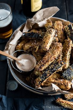 These crispy baked eggplant fries are a tasty and healthy alternative to regular fries. Dip these crispy little guys in some spicy chipotle aioli!