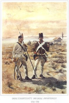 Grenzsoldaten (border/frontier soldiers) Scharfschütz (rifleman/sniper with spear) and Infantryman (musket) by by Rudolf Otto von Ottenfeld (Austrian, painter Military Art, Military History, Kaiser Karl, Austrian Empire, Holy Roman Empire, War Of 1812, Figure Sketching, French Revolution, Sketch Painting