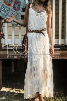 White Spaghetti Strap Lace Maxi Dress just needs a girl with curves and it's perfect! ❤❤