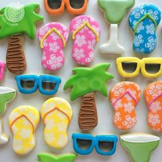 Hello Cookie :  Summer vacation.  Hawaii print flip flops.  Sunglasses.  Palm trees.  Margaritas.
