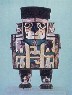 "Huari Figure of a Dignitary 800-1000 4"" wood with inlays, Peru"