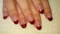 Oval red Acrylic Nails