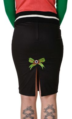 PSYCHOBILLY ZOMBIE COLLECTIF BABY LOU EYEBALL BOW PENCIL SKIRT