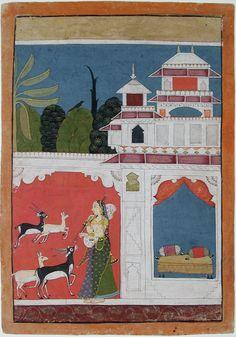 Todi ragini: playing the vina attracts 4 deer outside her empty bedchamber. Ragamala ca. 1725