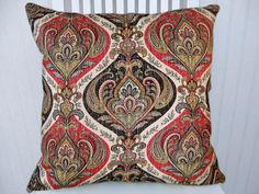 Red Black Suzani Pillow Cover-18x18 or 20x20 or 22x22- Accent Pillow--Decorative Pillow Cover