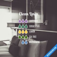 Blend Recipe: 3 drops Lavender, 3 drops Eucalyptus, 3 drops Lemon, 3 drops Tea Tree, 2 drops Peppermint