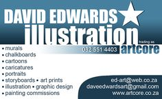 Artist/Illustrator David Edwards from East London South Africa Chalk Art, East London, Caricature, Murals, Graphic Design, Art Prints, Portrait, Business, Illustration