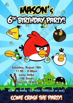 Birthday Invitation Angry Birds Go Crashing By CustomCardPhoto 700 Bird Parties 7th