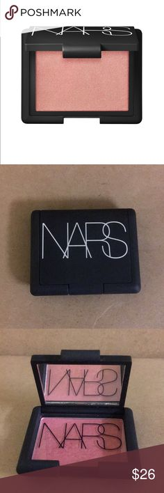 Nars Cosmetics Blush in Orgasm This is a 0.12 Nars travel sized blush in the shade Orgasm. It is a peachy blush with golden specks. The packaging is a soft matte black and contains a small mirror within.  *This has been swatched. Brand New. Recent Purchased. NARS Makeup Blush