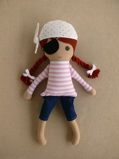 Fabric Doll Rag Doll Red Haired Pirate Girl in by rovingovine
