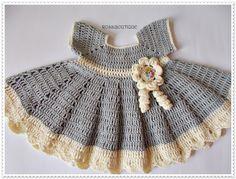 Crochet Baby Dress Newborn dress gray baby dress by ROSSIBOUTIQUE