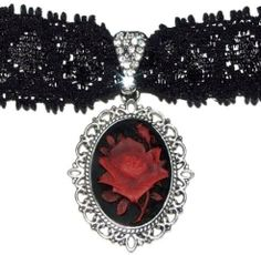 Vintage/Gothic/Vampire/Victorian Rose/Flower Cameo Dark Red/Gray/Royal Blue/Black & Antique Silver Adjustable Lace Necklace/Choker on Etsy, $13.47