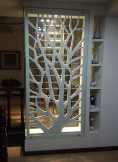 PVC wood board MDF hollow carved panels backdrop screen porch ceiling partition walls white in Continental - Haus Dekoration Living Room Divider, Living Room Partition Design, Room Partition Designs, Living Room Decor, Partition Walls, Partition Ideas, Pvc Wall Panels Designs, Room Partitions, Room Divider Shelves