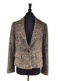 dc63829cfe Zara Woman Brown Beige Wool Mohair Tweed Women s Button Jacket Blazer Sizd 8