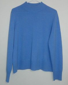 $24.95 obo investments 100% cashmere light blue long sleeve crew neck sweater size: large #freeshipping