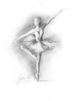 BALLERINA. Art Print of original graphite pencil drawing by Ewa Gawlik.