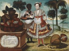 Noble Woman with Her Black Slave (Sra. principal con su negra esclava) by Vicente Albán seen at Art of The Americas Building, Los Angeles Colonial Art, Spanish Colonial, Anthropologie, European Paintings, Inspirational Wall Art, First Art, Western Art, American Art, Hispanic American