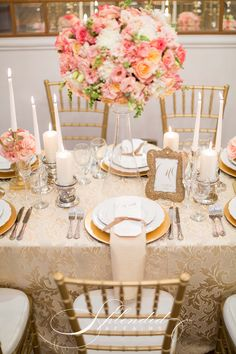 Coral and gold wedding reception inspirations. Flowers, decor and styling by Splendid Affairs Photography by Rensche Mari Photography Stationery by Chrystalace Stationery