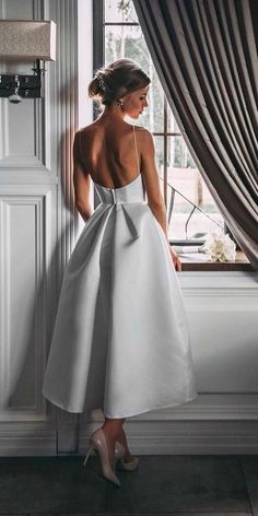 tea length wedding dresses simple with spaghetti straps low back ave dress