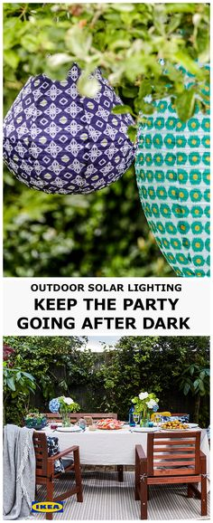 The party doesn't have to end when the sun goes down! Hang solar-powered outdoor lighting around the garden while the sun's out and enjoy the atmospheric glow when the sun goes down. Don't forget to have a few throws around to cosy up under.
