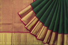 Handwoven Kanjivaram Silk Sari with Kuthuvilaku Border 1028409 - Saris / All Saris - Parisera Bridal Silk Saree, Sari Silk, Saree Wedding, Wedding Wear, Silk Sarees, Saree Accessories, Silk Saree Kanchipuram, Traditional Silk Saree, Mehndi Simple