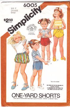 Simplicity 6005 Toddler Shorts Set Sewing Pattern 3-5 Uncut