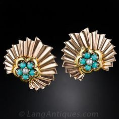 Retro Turquoise and Pearl Earrings - 20-1-4241 - Lang Antiques