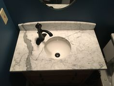 Marble Countertops, Sink, Home Decor, Powder Room, Sink Tops, Interior Design, Home Interior Design, Sinks, Granite Countertops