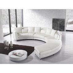 Beliani Rotunde White Modern Design Round Leather Sectional