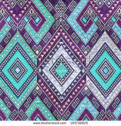 Thai silk fabric pattern - stock photo